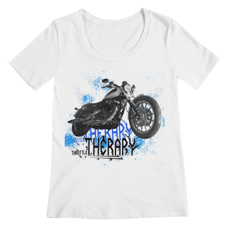 THROTTLE THERAPY CYBER BLUE Women's Regular Scoop Neck by ExploreDaily's Artist Shop