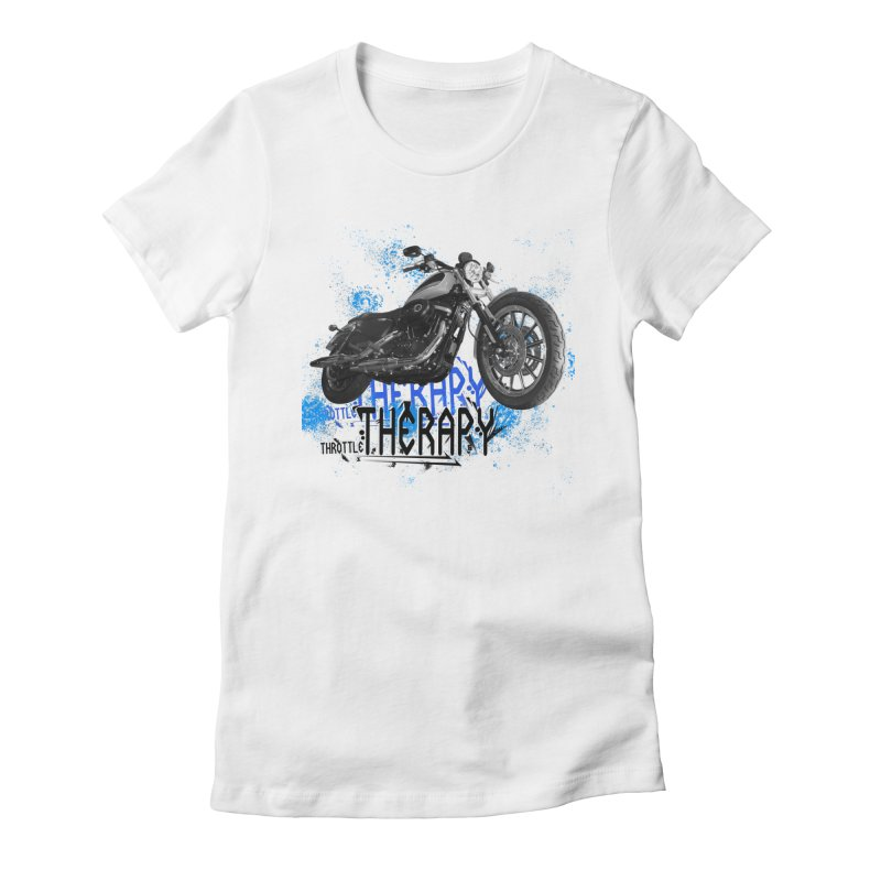 THROTTLE THERAPY CYBER BLUE Women's Fitted T-Shirt by ExploreDaily's Artist Shop