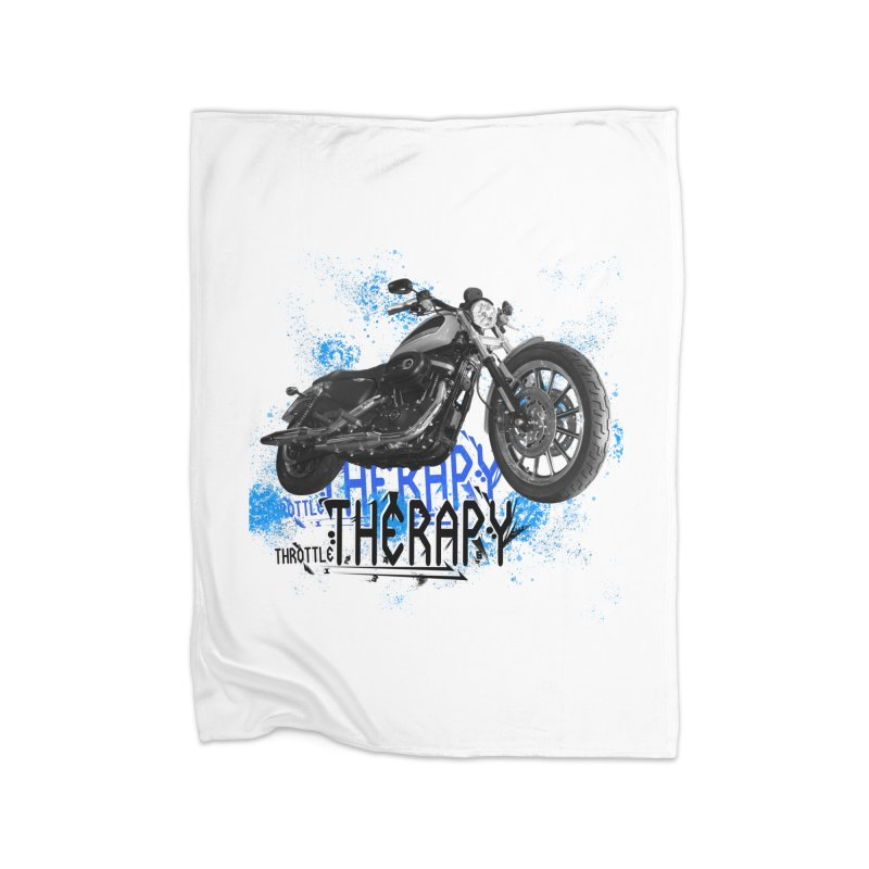 THROTTLE THERAPY CYBER BLUE Home Fleece Blanket Blanket by ExploreDaily's Artist Shop