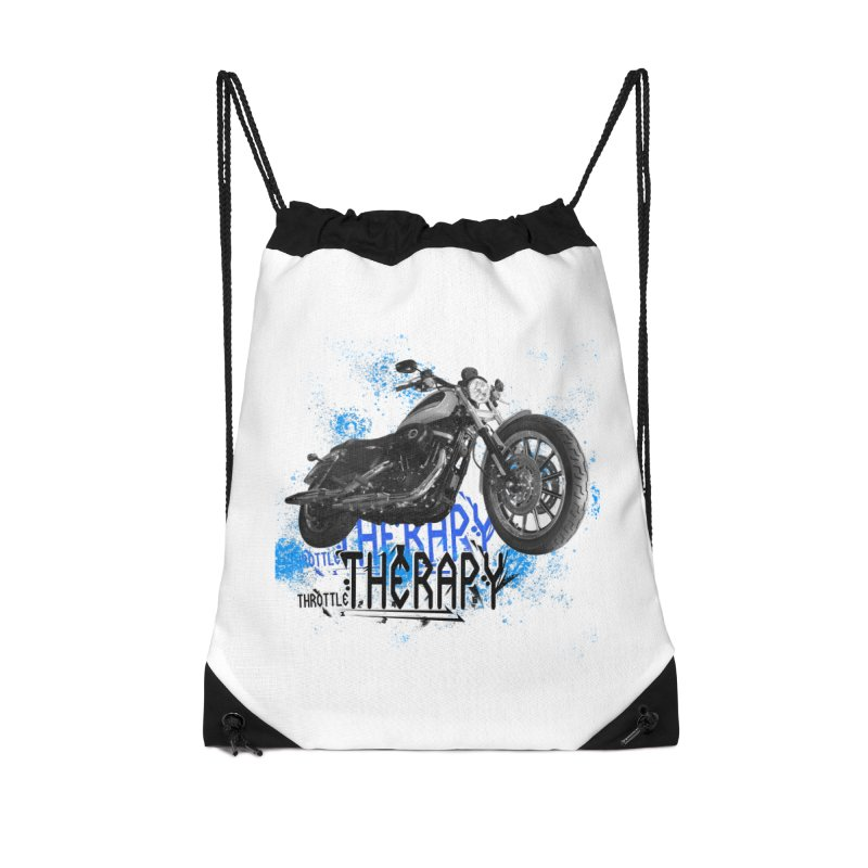 THROTTLE THERAPY CYBER BLUE Accessories Drawstring Bag Bag by ExploreDaily's Artist Shop