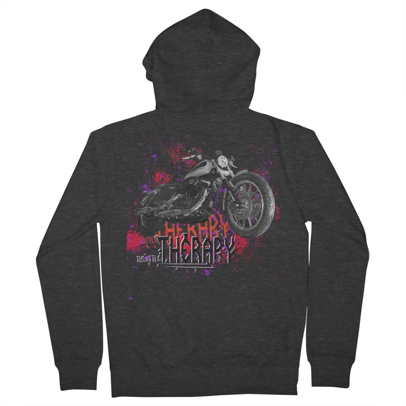 THROTTLE THERAPY RED HOT Men's French Terry Zip-Up Hoody by ExploreDaily's Artist Shop