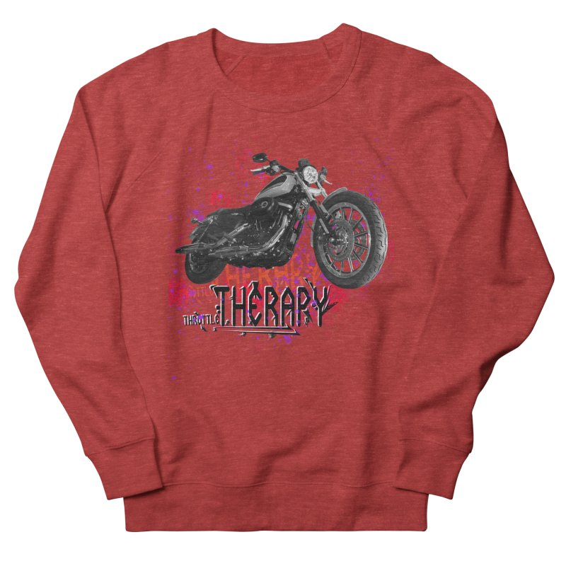 THROTTLE THERAPY RED HOT Men's French Terry Sweatshirt by ExploreDaily's Artist Shop