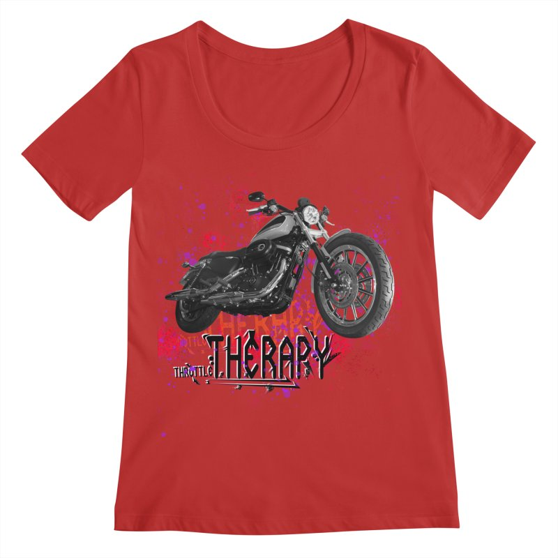 THROTTLE THERAPY RED HOT Women's Regular Scoop Neck by ExploreDaily's Artist Shop