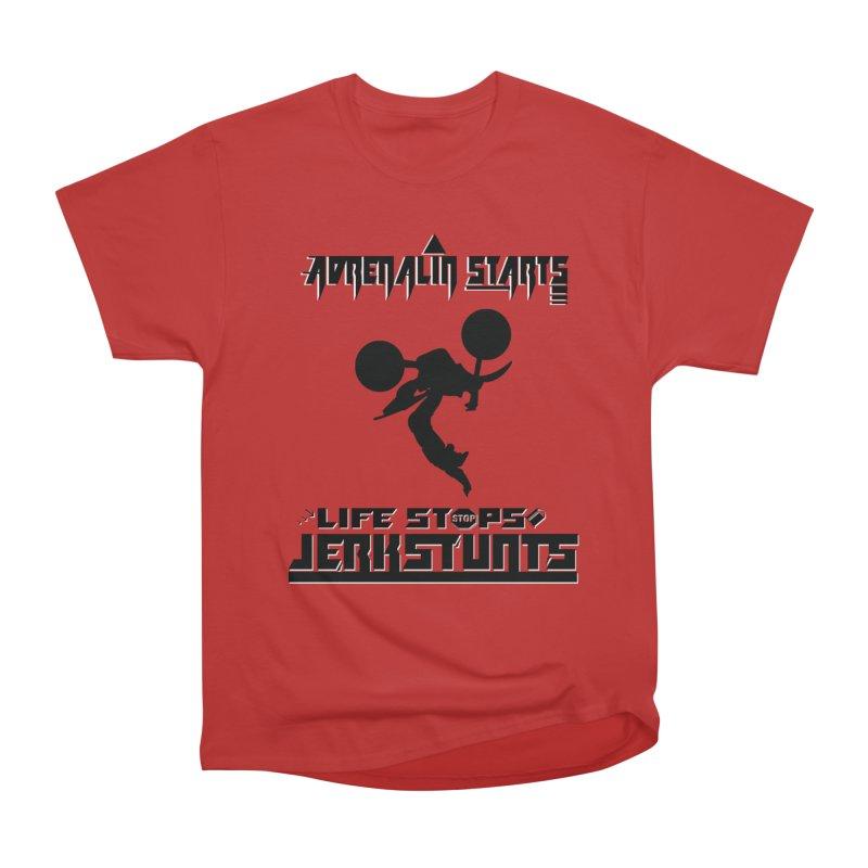 ADRENALIN STARTS LIFE STOPS JERKSTUNTS Men's Heavyweight T-Shirt by ExploreDaily's Artist Shop