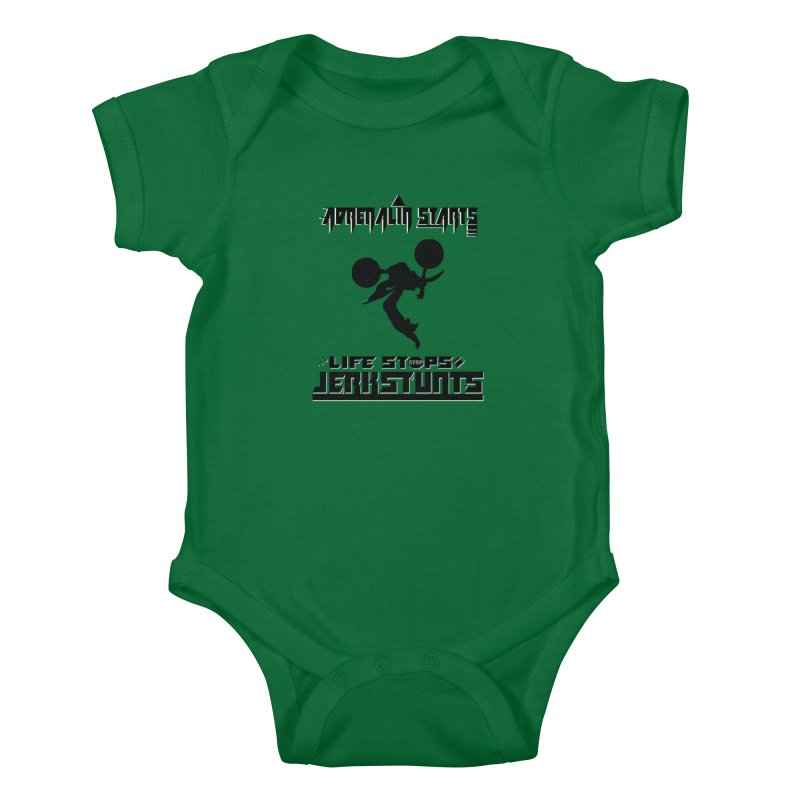 ADRENALIN STARTS LIFE STOPS JERKSTUNTS Kids Baby Bodysuit by ExploreDaily's Artist Shop