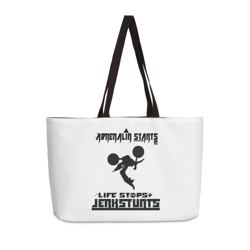 ADRENALIN STARTS LIFE STOPS JERKSTUNTS Accessories Weekender Bag Bag by ExploreDaily's Artist Shop