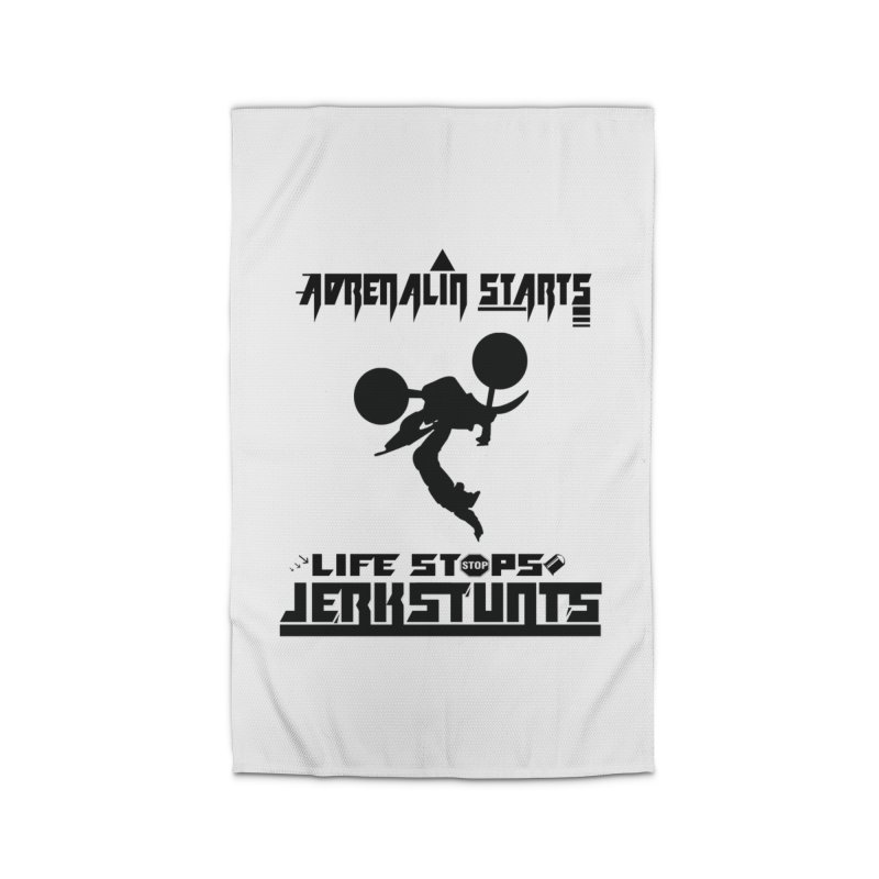ADRENALIN STARTS LIFE STOPS JERKSTUNTS Home Rug by ExploreDaily's Artist Shop