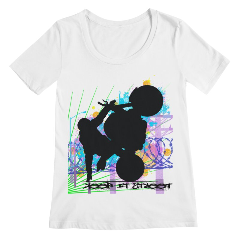 KEEP IT STREET JERKSTUNTS ALL ARTWORK © Women's Regular Scoop Neck by ExploreDaily's Artist Shop