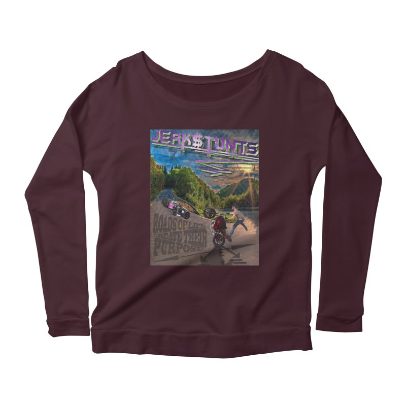 ROADS OF LIFE JERKSTUNTS Women's Scoop Neck Longsleeve T-Shirt by ExploreDaily's Artist Shop