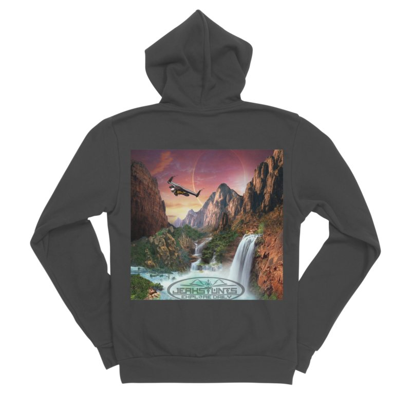 WINGMAN EXPLORE DAILY JERKSTUNTS LIFESTYLE Men's Sponge Fleece Zip-Up Hoody by ExploreDaily's Artist Shop