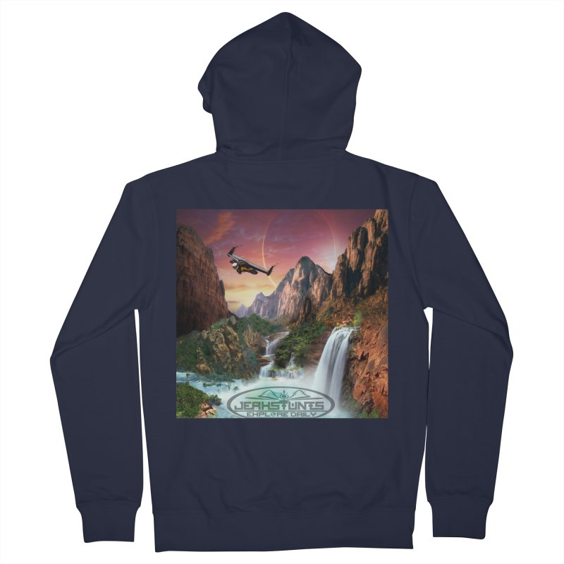 WINGMAN EXPLORE DAILY JERKSTUNTS LIFESTYLE Women's French Terry Zip-Up Hoody by ExploreDaily's Artist Shop
