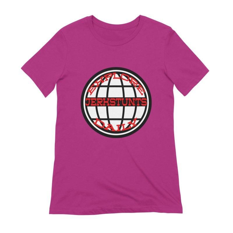 EXPLORE DAILY TECHGLOBE JERKSTUNTS Women's Extra Soft T-Shirt by ExploreDaily's Artist Shop