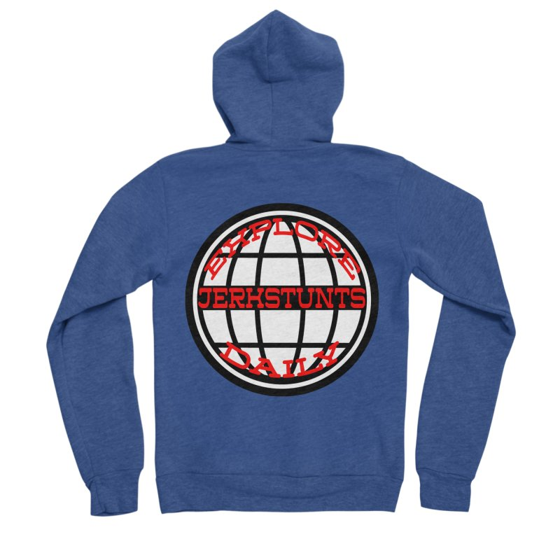 EXPLORE DAILY TECHGLOBE JERKSTUNTS Men's Sponge Fleece Zip-Up Hoody by ExploreDaily's Artist Shop
