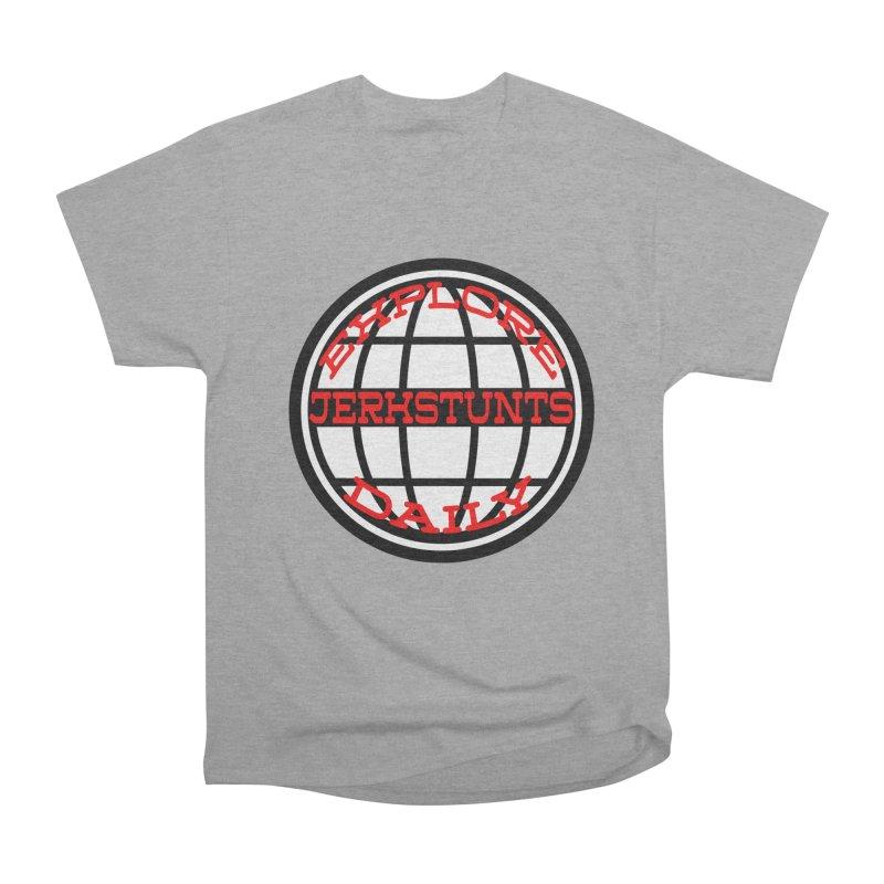 EXPLORE DAILY TECHGLOBE JERKSTUNTS Men's Heavyweight T-Shirt by ExploreDaily's Artist Shop
