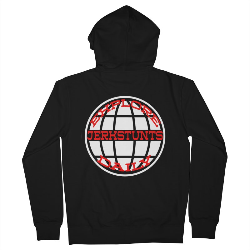 EXPLORE DAILY TECHGLOBE JERKSTUNTS Men's French Terry Zip-Up Hoody by ExploreDaily's Artist Shop