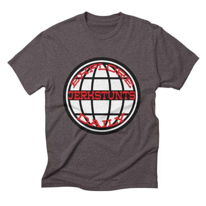 EXPLORE DAILY TECHGLOBE JERKSTUNTS Men's Triblend T-Shirt by ExploreDaily's Artist Shop