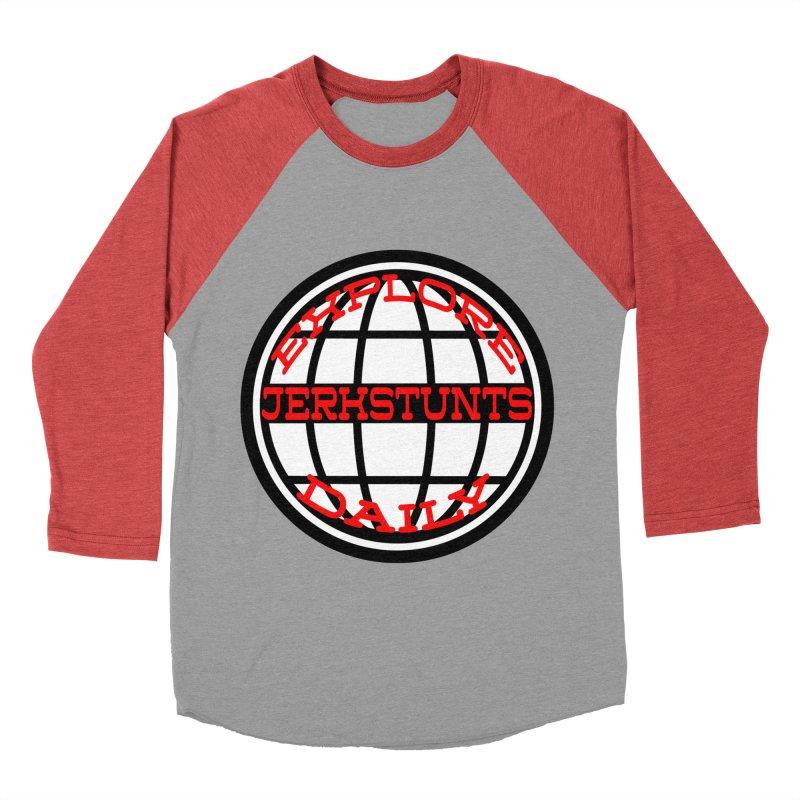 EXPLORE DAILY TECHGLOBE JERKSTUNTS Men's Baseball Triblend Longsleeve T-Shirt by ExploreDaily's Artist Shop
