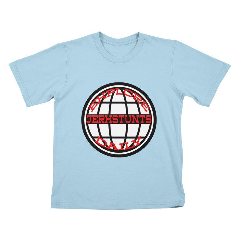 EXPLORE DAILY TECHGLOBE JERKSTUNTS Kids T-Shirt by ExploreDaily's Artist Shop