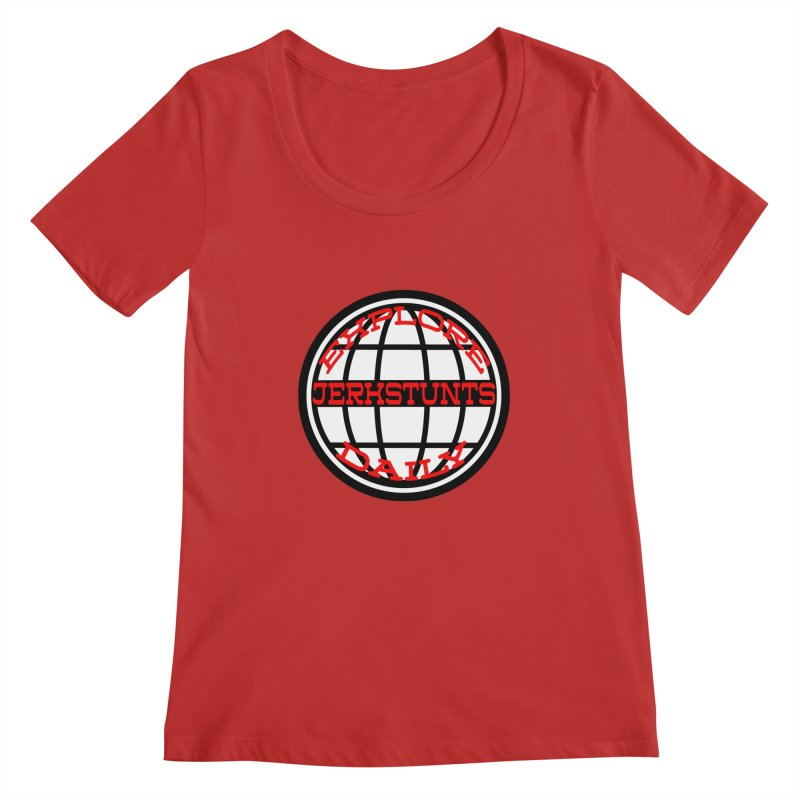 EXPLORE DAILY TECHGLOBE JERKSTUNTS Women's Regular Scoop Neck by ExploreDaily's Artist Shop