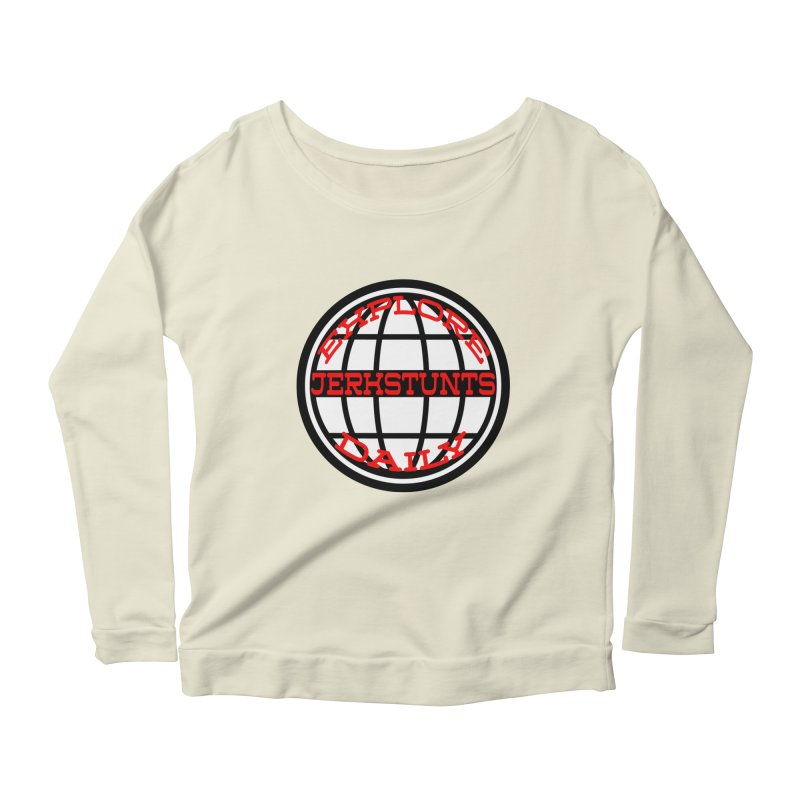 EXPLORE DAILY TECHGLOBE JERKSTUNTS Women's Scoop Neck Longsleeve T-Shirt by ExploreDaily's Artist Shop