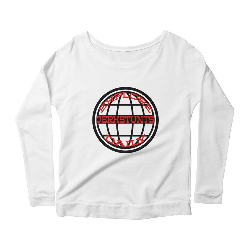 EXPLORE DAILY TECHGLOBE JERKSTUNTS Women's Scoop Neck Longsleeve T-Shirt by ExploreDaily's Artist Shop
