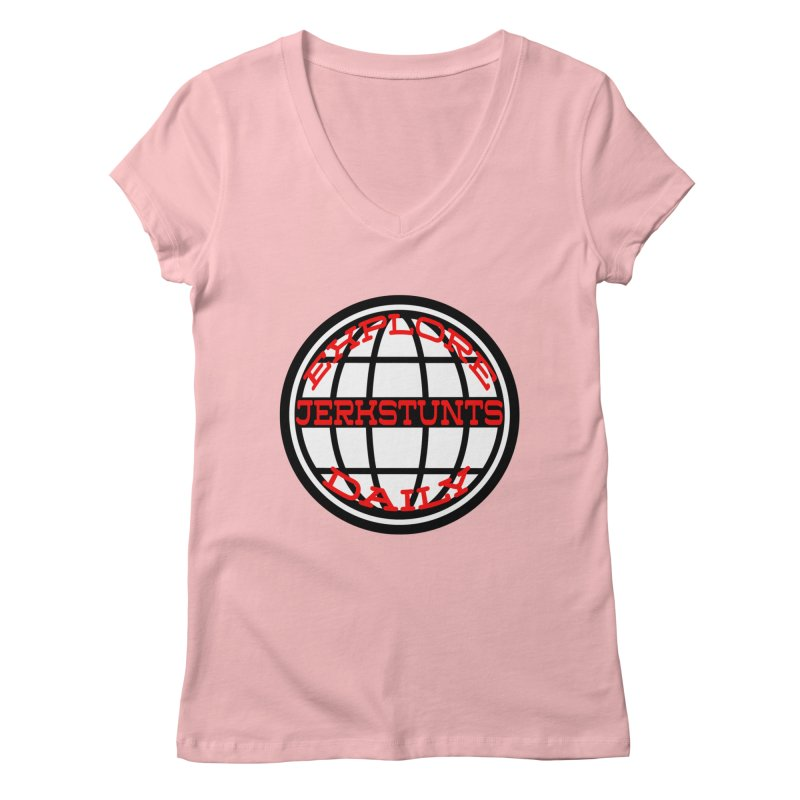 EXPLORE DAILY TECHGLOBE JERKSTUNTS Women's Regular V-Neck by ExploreDaily's Artist Shop