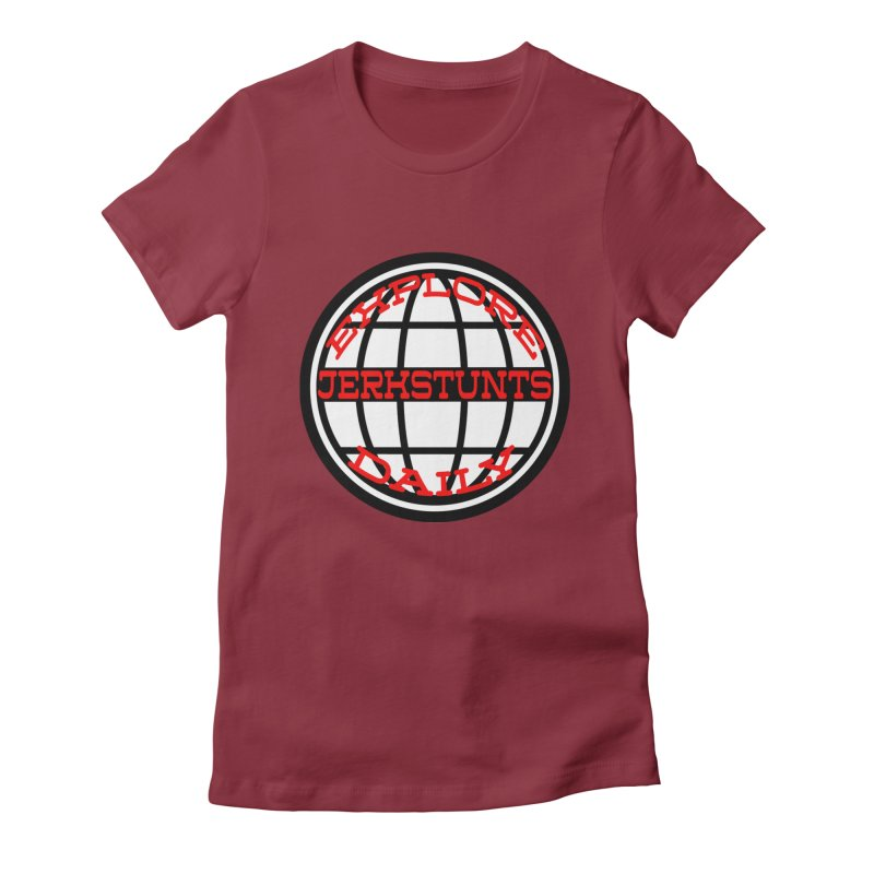 EXPLORE DAILY TECHGLOBE JERKSTUNTS Women's Fitted T-Shirt by ExploreDaily's Artist Shop