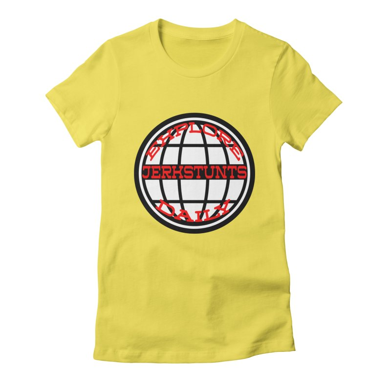 EXPLORE DAILY TECHGLOBE JERKSTUNTS Women's Fitted T-Shirt by ExploreDaily's Artist Shop