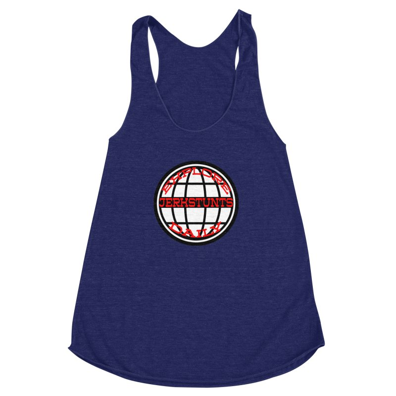 EXPLORE DAILY TECHGLOBE JERKSTUNTS Women's Racerback Triblend Tank by ExploreDaily's Artist Shop