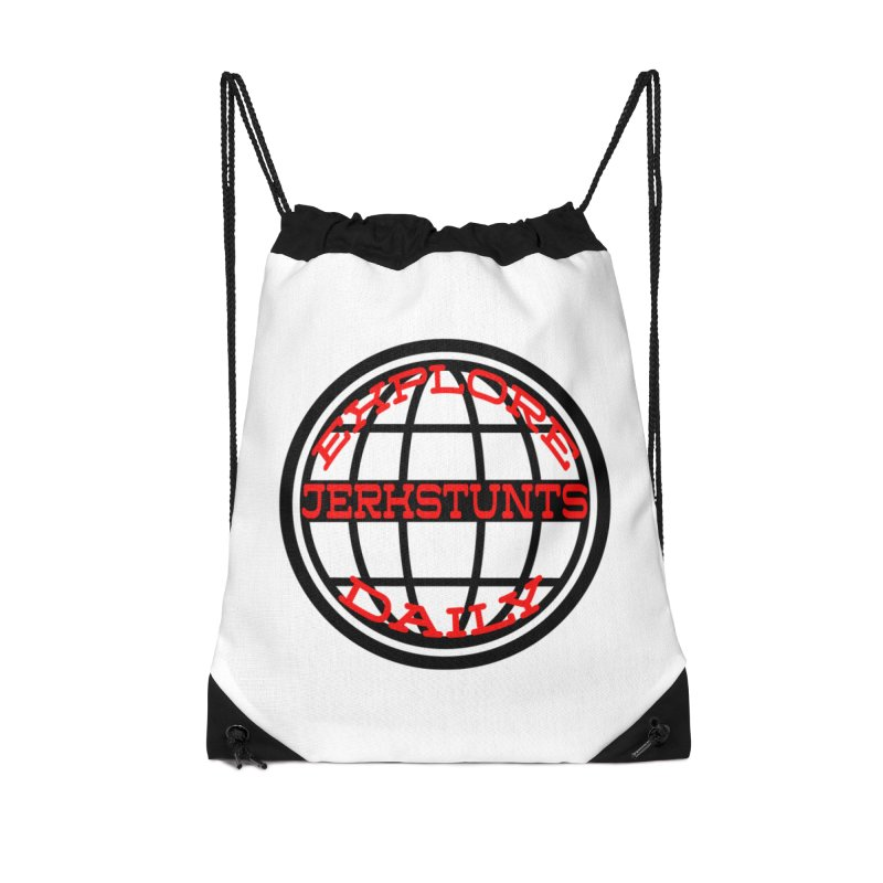 EXPLORE DAILY TECHGLOBE JERKSTUNTS Accessories Drawstring Bag Bag by ExploreDaily's Artist Shop