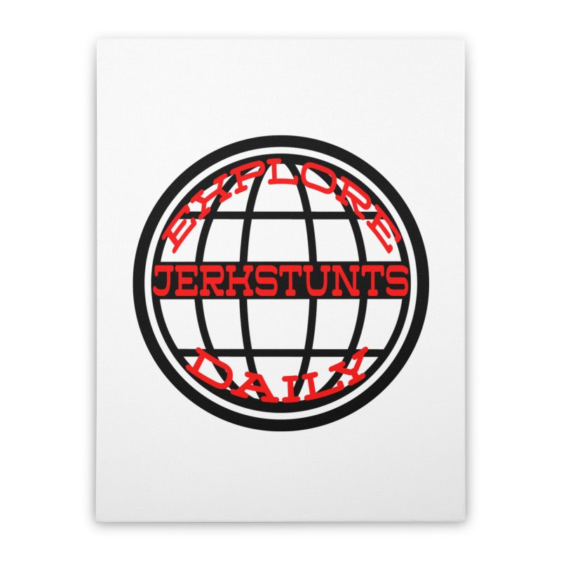 EXPLORE DAILY TECHGLOBE JERKSTUNTS Home Stretched Canvas by ExploreDaily's Artist Shop