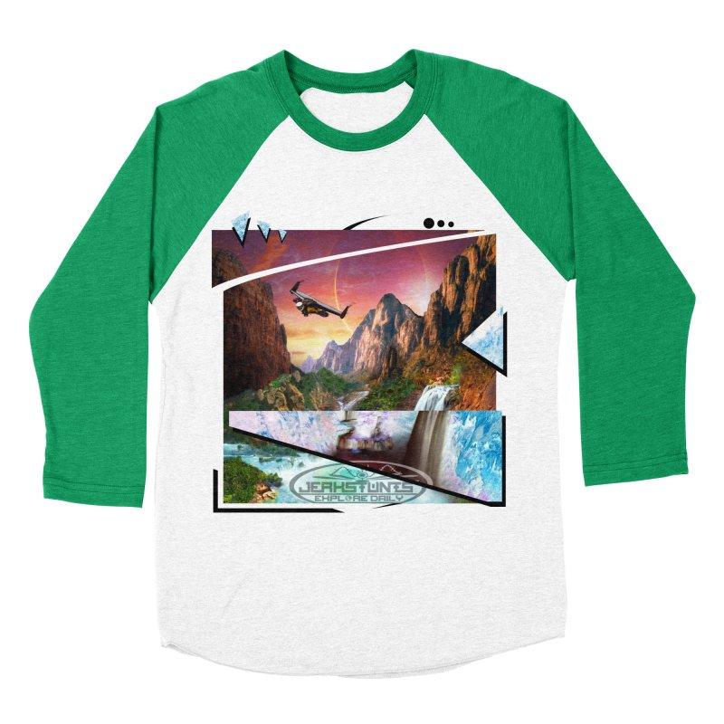 JERKSTUNTS WINGSUIT CYBERTECH HARD REMIX Men's Baseball Triblend Longsleeve T-Shirt by ExploreDaily's Artist Shop