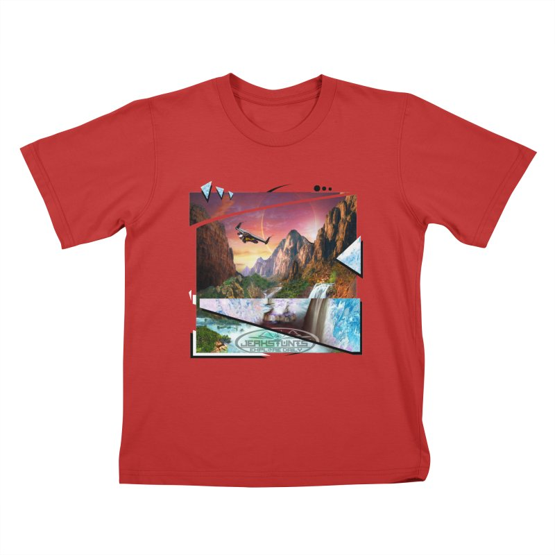 JERKSTUNTS WINGSUIT CYBERTECH HARD REMIX Kids T-Shirt by ExploreDaily's Artist Shop