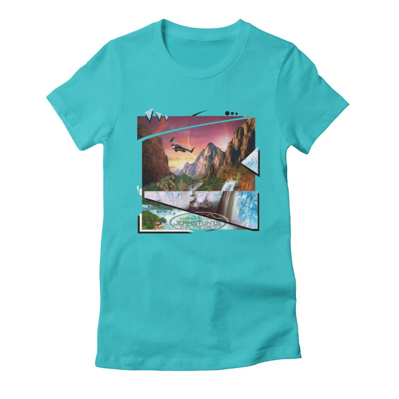 JERKSTUNTS WINGSUIT CYBERTECH HARD REMIX Women's Fitted T-Shirt by ExploreDaily's Artist Shop