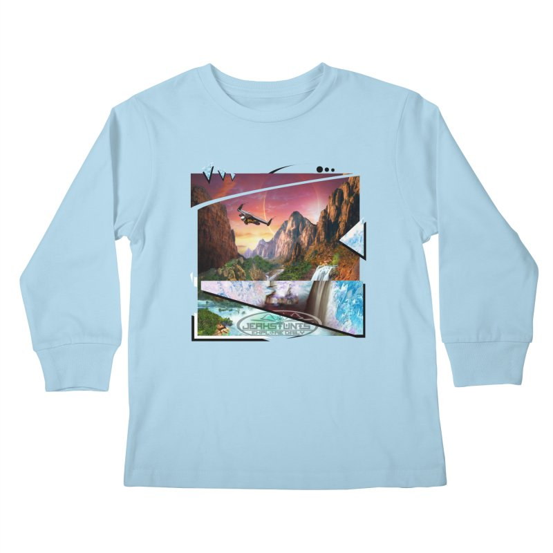 JERKSTUNTS WINGSUIT CYBERTECH HARD REMIX Kids Longsleeve T-Shirt by ExploreDaily's Artist Shop
