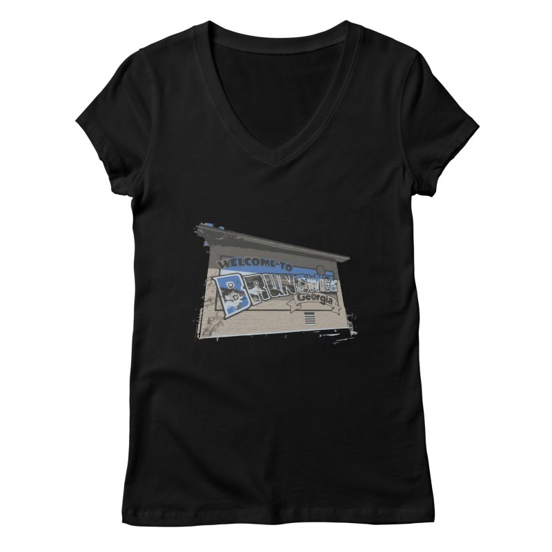 Welcome to Brunswick, Georgia Women's V-Neck by Explore Jekyll Island Official Gear