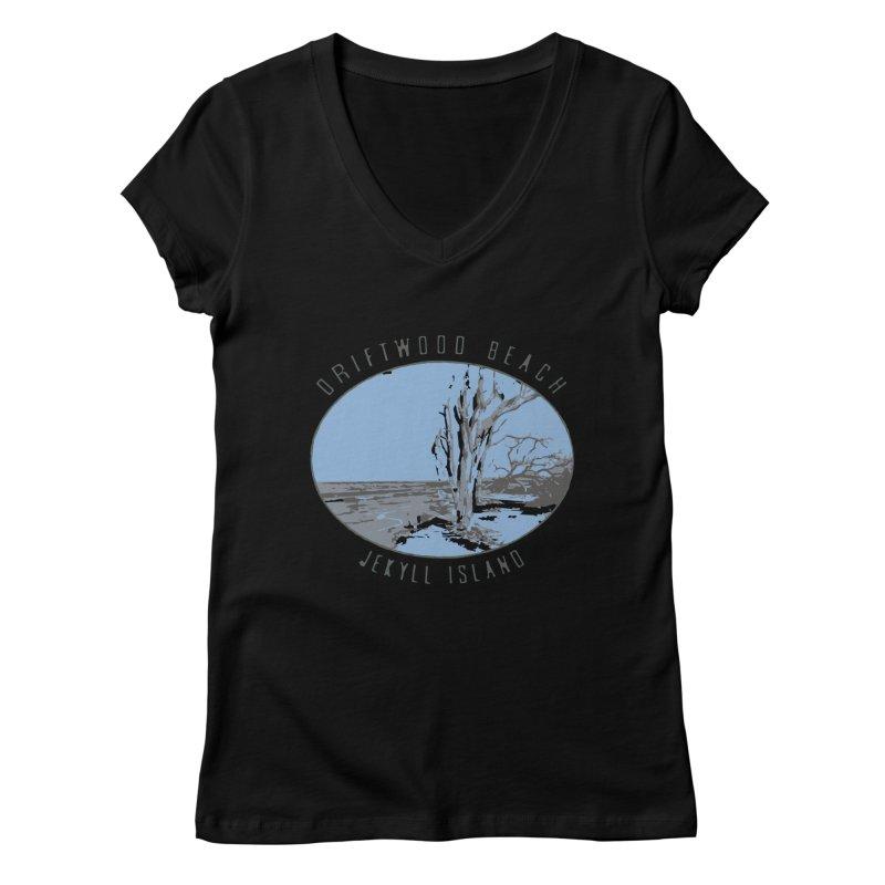 Driftwood Beach Jekyll Island Women's V-Neck by Explore Jekyll Island Official Gear