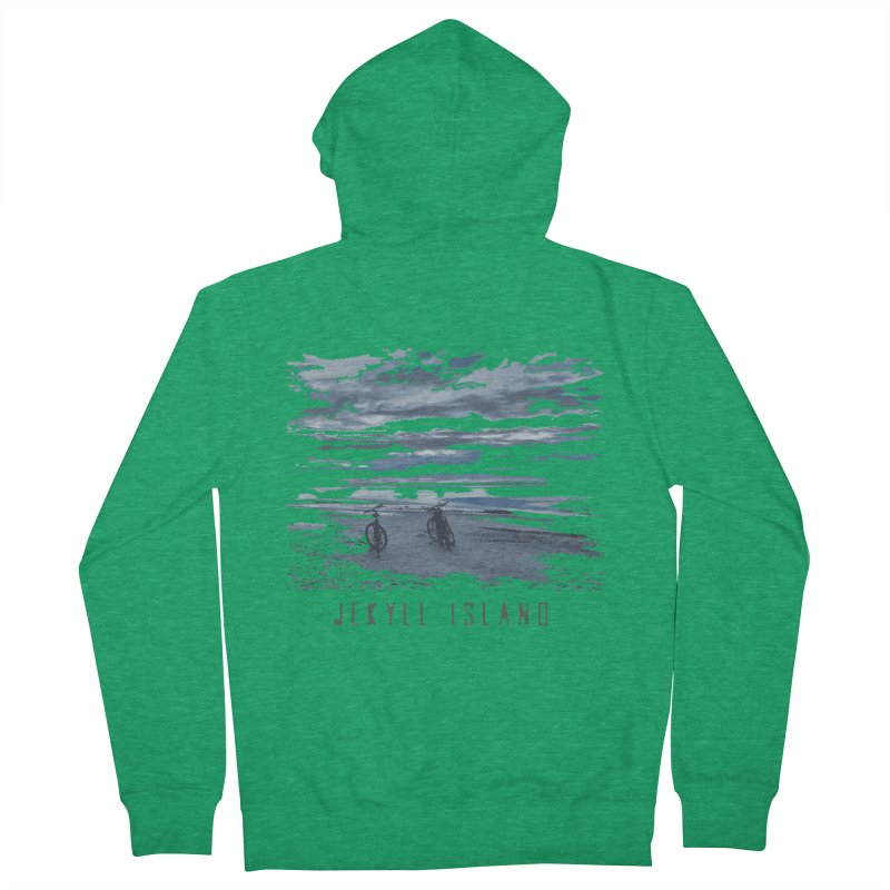 Jekyll Island Bicycles on Beach Women's Zip-Up Hoody by Explore Jekyll Island Official Gear