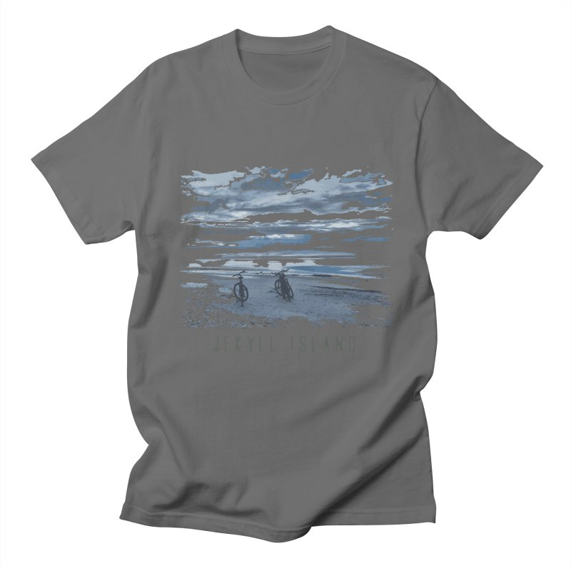 Jekyll Island Bicycles on Beach Men's T-Shirt by Explore Jekyll Island Official Gear