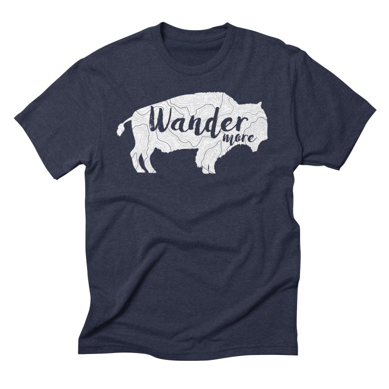 The Wandering Buffalo in Men's Triblend T-Shirt Navy by Wanderluster