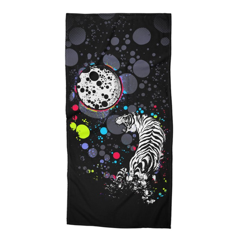 The Moon And The White Tiger Accessories Beach Towel by expo's Artist Shop