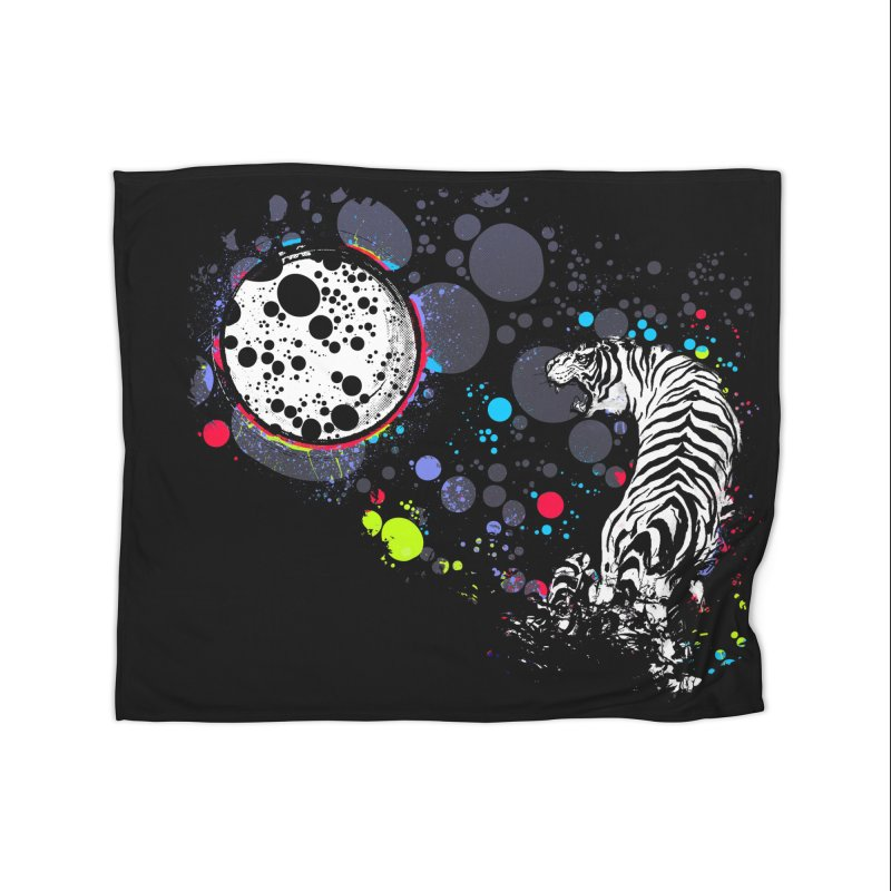 The Moon And The White Tiger Home Blanket by expo's Artist Shop