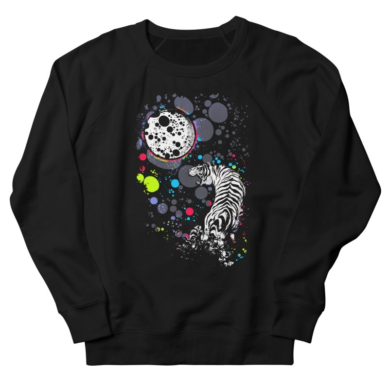 The Moon And The White Tiger Women's French Terry Sweatshirt by expo's Artist Shop