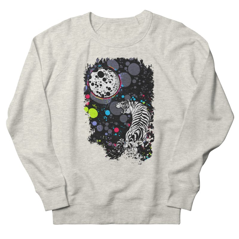 The Moon And The White Tiger Men's French Terry Sweatshirt by expo's Artist Shop
