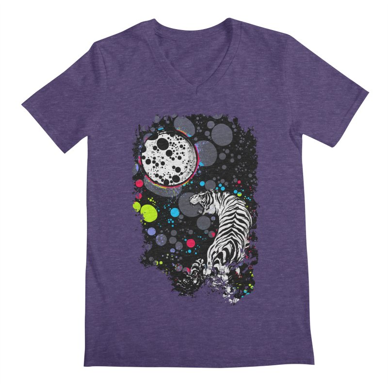The Moon And The White Tiger Men's V-Neck by expo's Artist Shop
