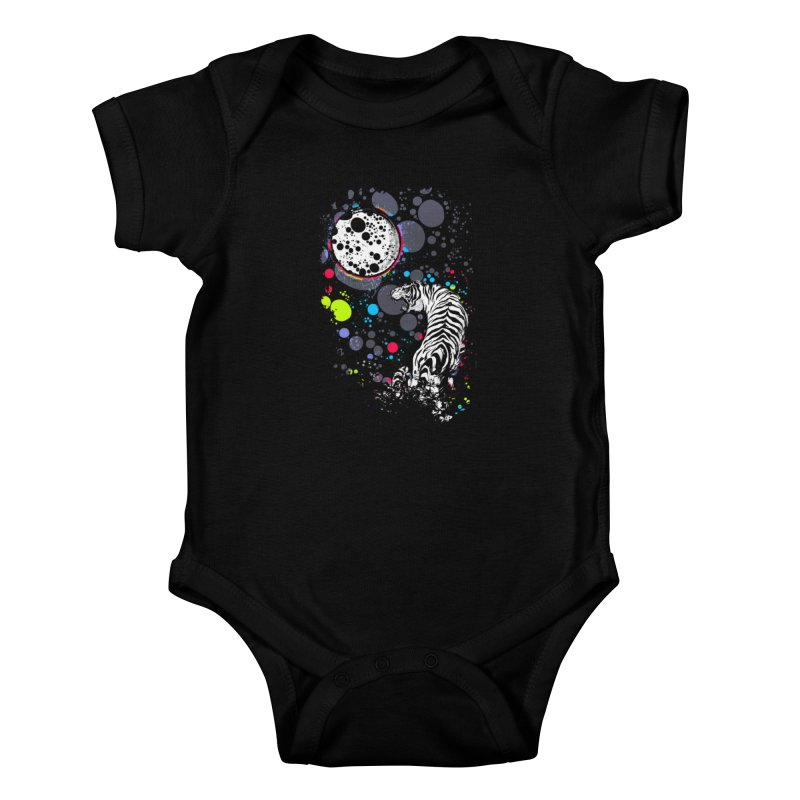 The Moon And The White Tiger Kids Baby Bodysuit by expo's Artist Shop