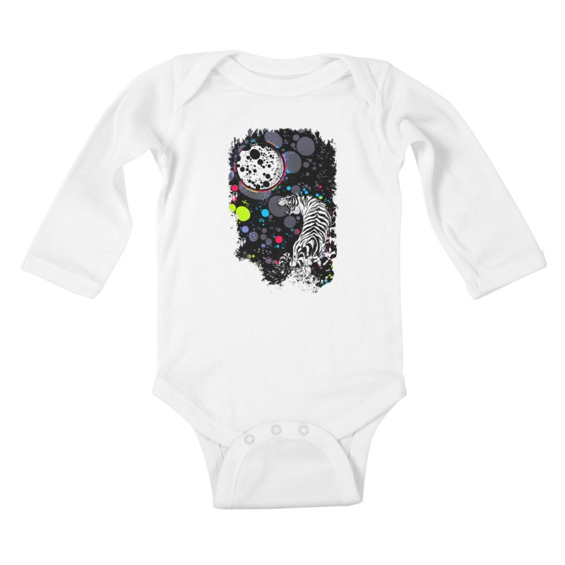 The Moon And The White Tiger Kids Baby Longsleeve Bodysuit by expo's Artist Shop