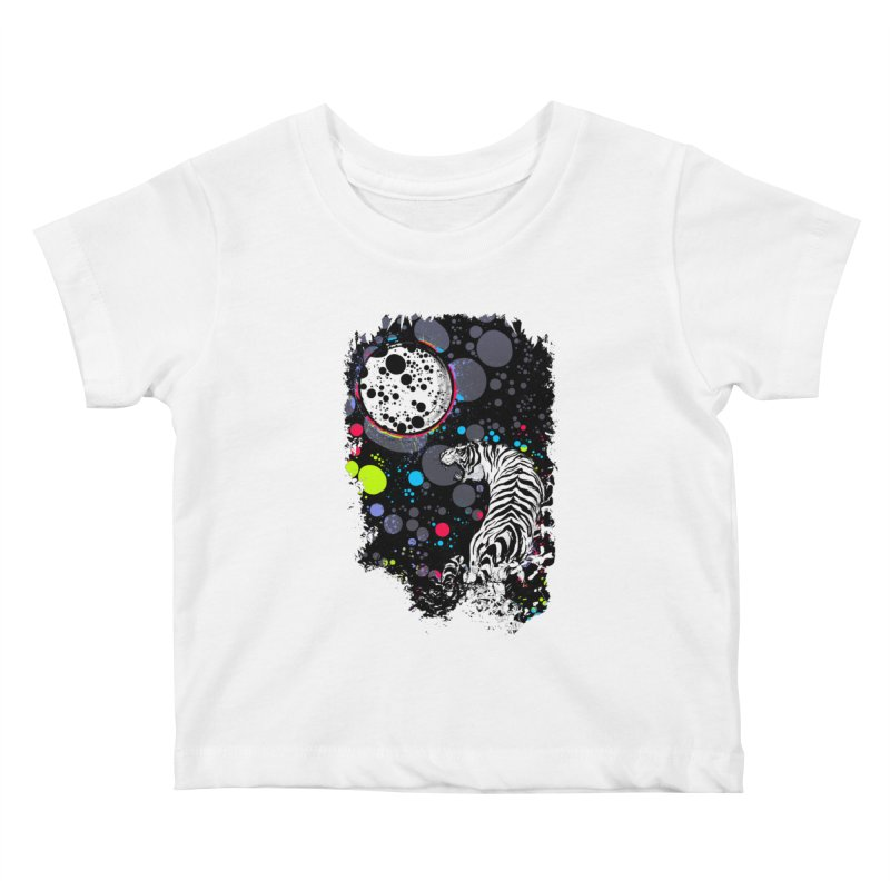 The Moon And The White Tiger Kids Baby T-Shirt by expo's Artist Shop