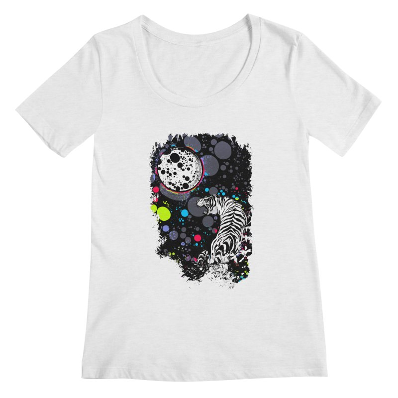 The Moon And The White Tiger Women's Regular Scoop Neck by expo's Artist Shop