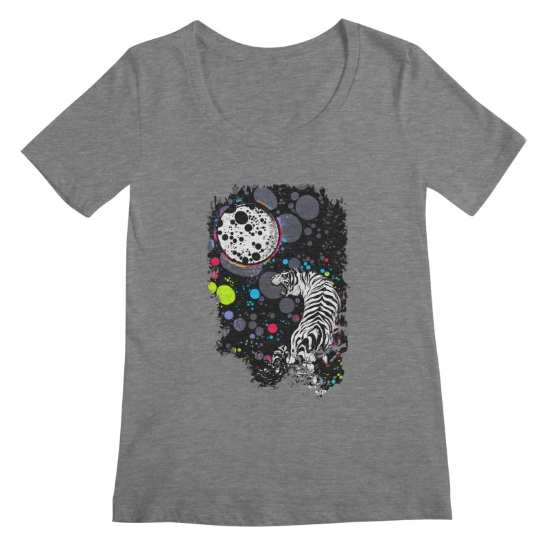 The Moon And The White Tiger Women's Scoopneck by expo's Artist Shop